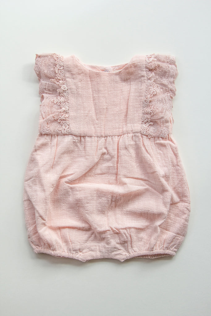 Linen and Lace Baby Romper - PINK