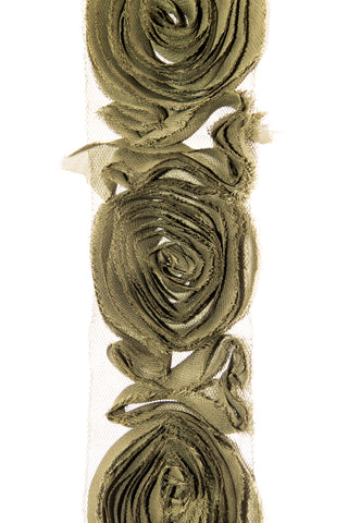 Large Rose Ruffle Trim - Olive