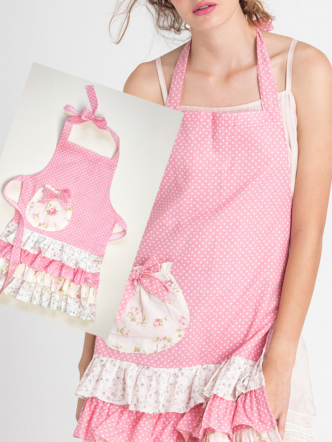 Pink Floral Mother and Daughter Apron Set