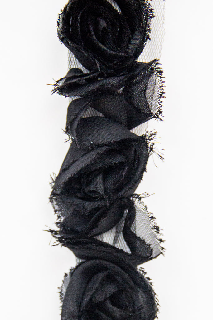 Rose Ruffle Trim - Black