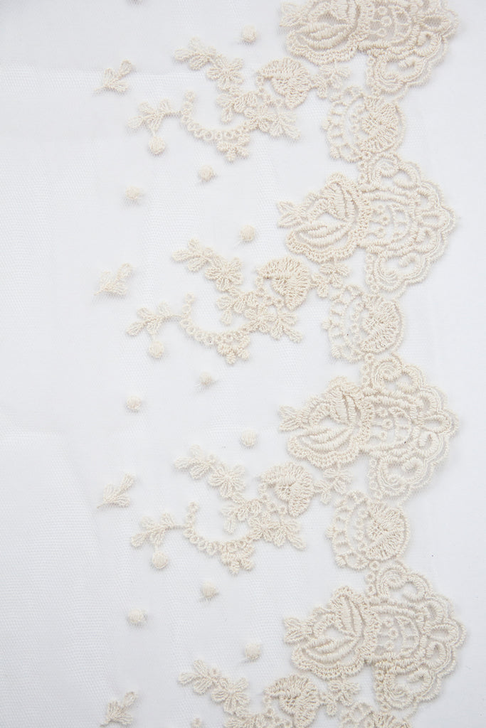 Scalloped Floral Lace - Cream