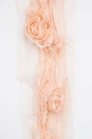 Lace rose ruffle trim - Blush