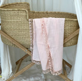 Cotton and Lace Swaddle - Pink