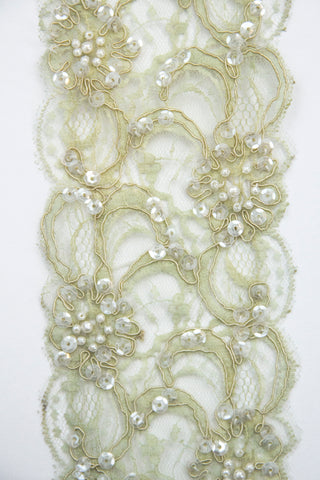 Sequin Lace Trim - Soft Green