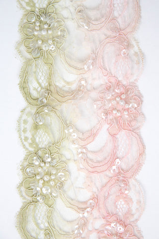 Sequin Lace Trim - Pale green and pink