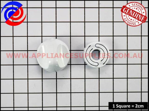 0609100282 COOKTOP KNOB & SKIRT WHITE WESTINGHOUSE SIMPSON FISHER & PAYKEL