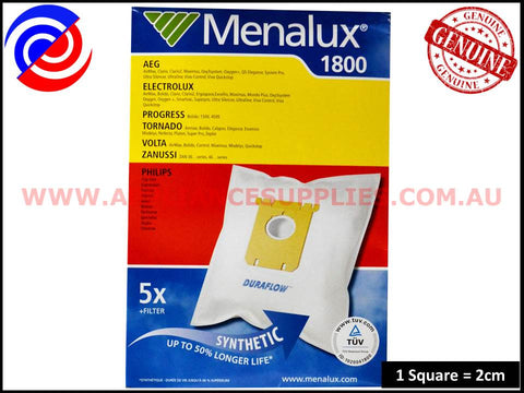 T197 1800 VACUUM BAGS MENALUX SUITS: ELECTROLUX, CLARIO AND EXCELLIO ( PACK OF 5 )