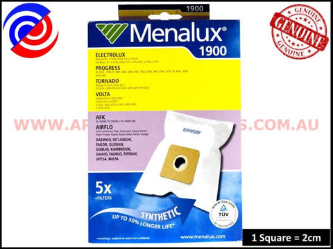 1900 T120A VACUUM BAGS MENALUX SUITS: AIRFLOW, HOOVER (PACK OF 5)