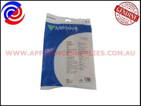 T172 VACUUM BAGS MENALUX SUITS: BOMANN, FAR, HOLLAND ELECTRO & HOOVER (PACK OF 5)