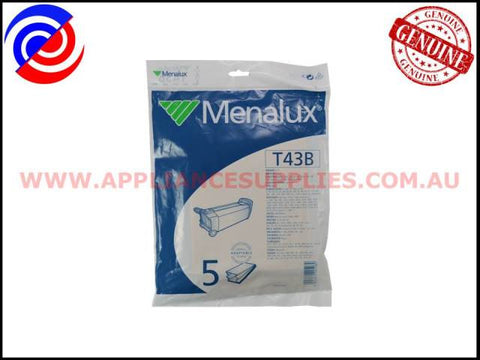 T43B VACUUM BAGS MENALUX SUITS: BIRUM, ELECTROILUX, HOOVER & TORNADO (PACK OF 5)