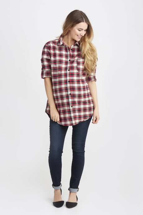 Sadie Button Front During and After Top <br> Red Plaid