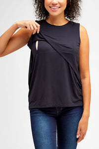 Sophia Maternity + Nursing Top <br> Black