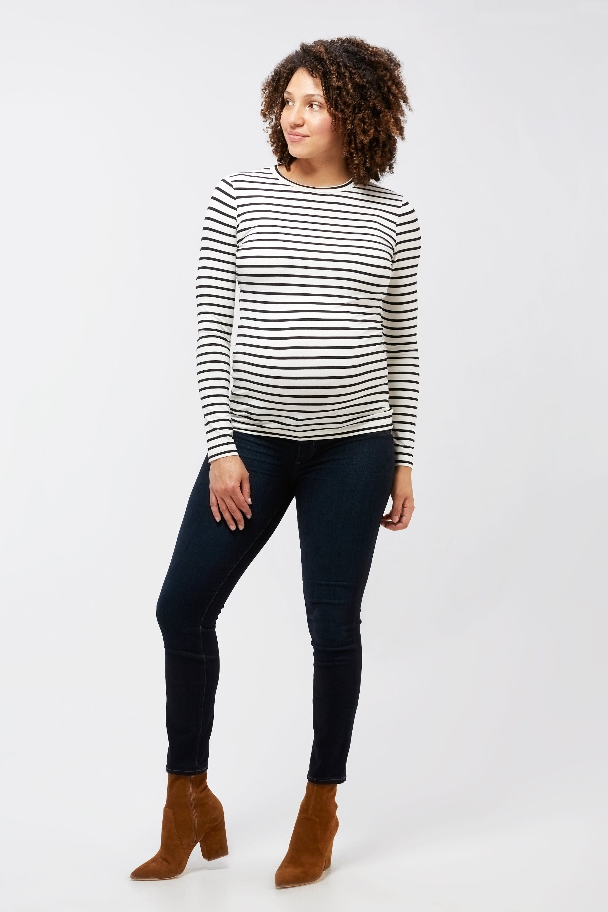 Liv long sleeve black and white stripe tee