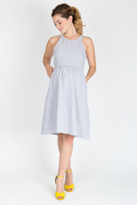 Molly Dress <br/> Blue Seersucker