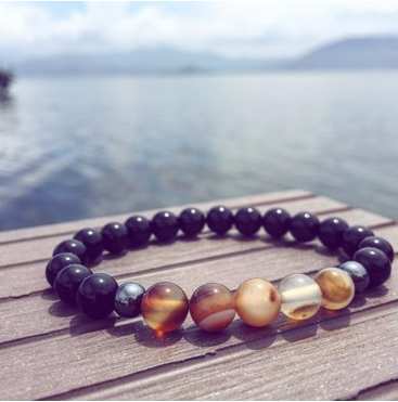 Beaded Agate and Tiger Eye Bracelet for Men and Women