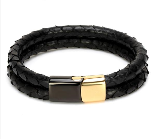 Snake Skin with Gold Magnetic Buckle Claps Double Leather Bracelet for Men