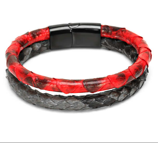 Snake Skin with Buckle Claps Double leather Bracelet for Women