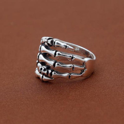 Vintage Real 925 Sterling Silver Skull Ring for Men and Women