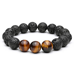 Black Lave Stone with 3 Tiger Stone Bracelet for Men