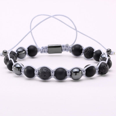 Lava Rock Stone Weave Bracelet for Men and Women