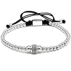 Round Beaded Square CZ Macrame Bracelet for Men