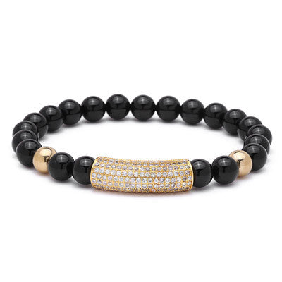 Tube Pave Zircon Stone Bracelet for Men