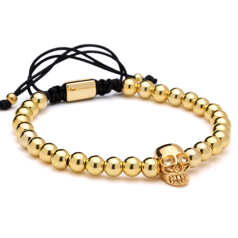 Simple Beaded Skull Bracelet for Men