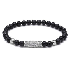 Micro Paved Tube Beaded Bracelet for Men and Women