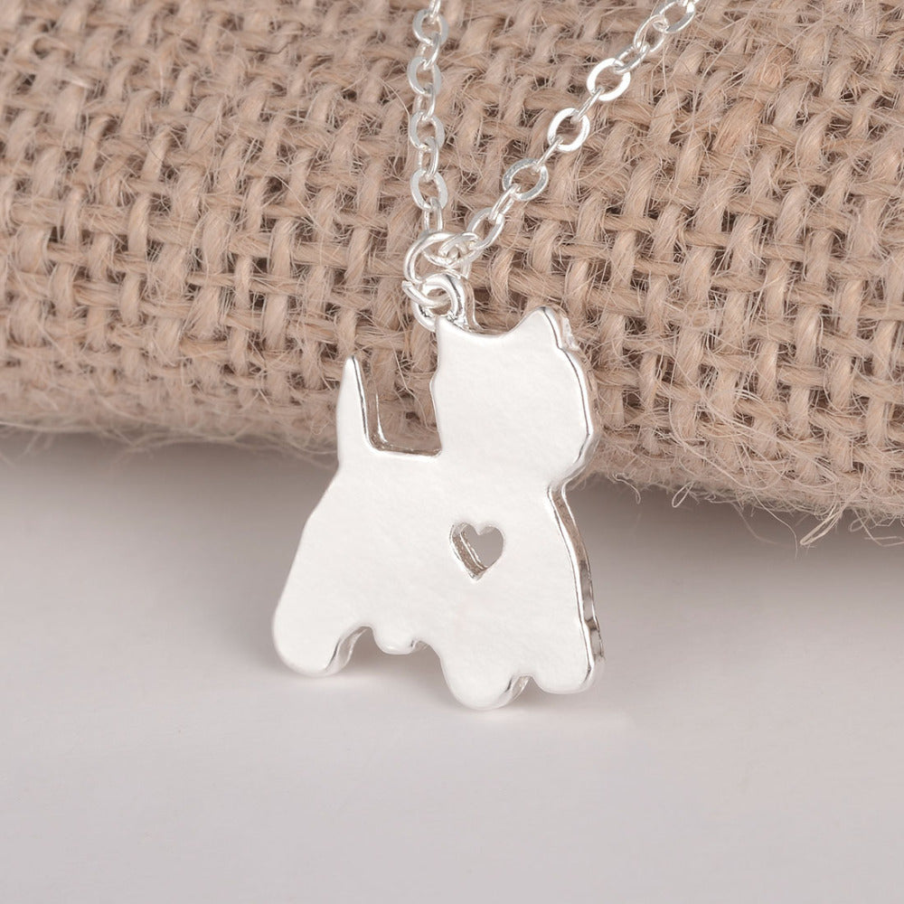 Yorkie Necklace Pendant with Heart - Yorkshire Terrier!