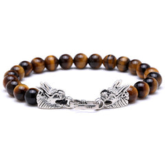 Tibetan Silver Dragon Stone Bracelet for Men