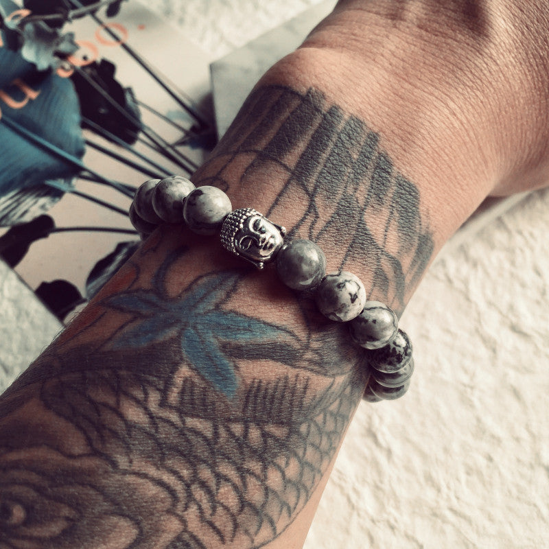 Grey Buddha Beads Bracelets for Men and Women