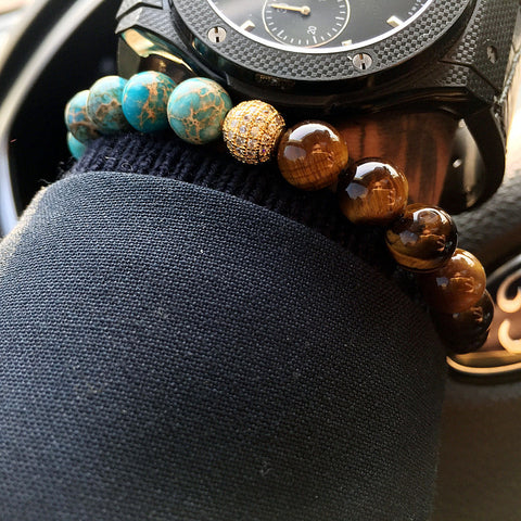 Turquoise and Tiger Eye Bracelet for Men and Women