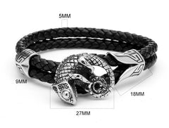 Double Rope Gecko Lizard Leather Bracelet for Men and Women