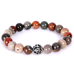 Thai Silver Elastic Rope Natural Stone Beads Bracelet for Women and Men