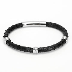 Snake Skin Braid Buckle Claps Leather Bracelet for Men and Women