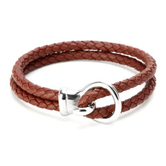 Double Rope Skull Leather Bracelet for Men