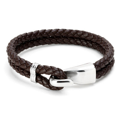 Double Rope Titanium Steel Leather Bracelets for Men