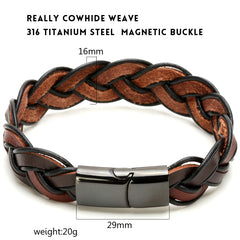 Rope Chain Brown Leather Bracelet for Men
