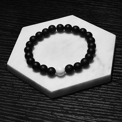 White and Black Stone Beaded Bracelet for Men and Women