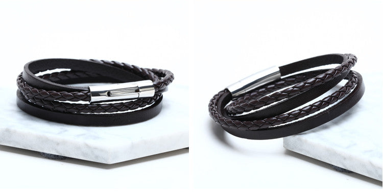 Multiple Braided Leather Bracelet for Men and Women