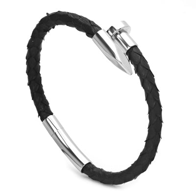 Snake Skin Nail Titanium Leather Bracelet for Men