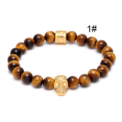 Gold Skull Stone Bracelets for Men - BraceletsDR