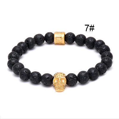Gold Skull Stone Bracelets for Men