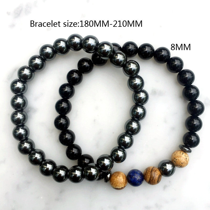2 Piece Set Black Stone Bracelet for Men