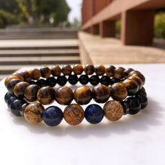 2 Piece Set Agate Beaded Bracelet for Men