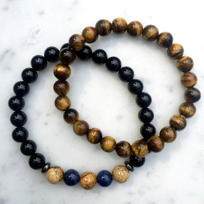 2 Piece Set Agate Beaded Bracelet for Men - BraceletsDR