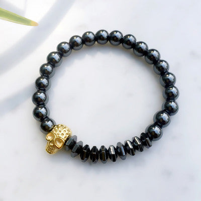Skull Bracelets with Natural Stones for Men