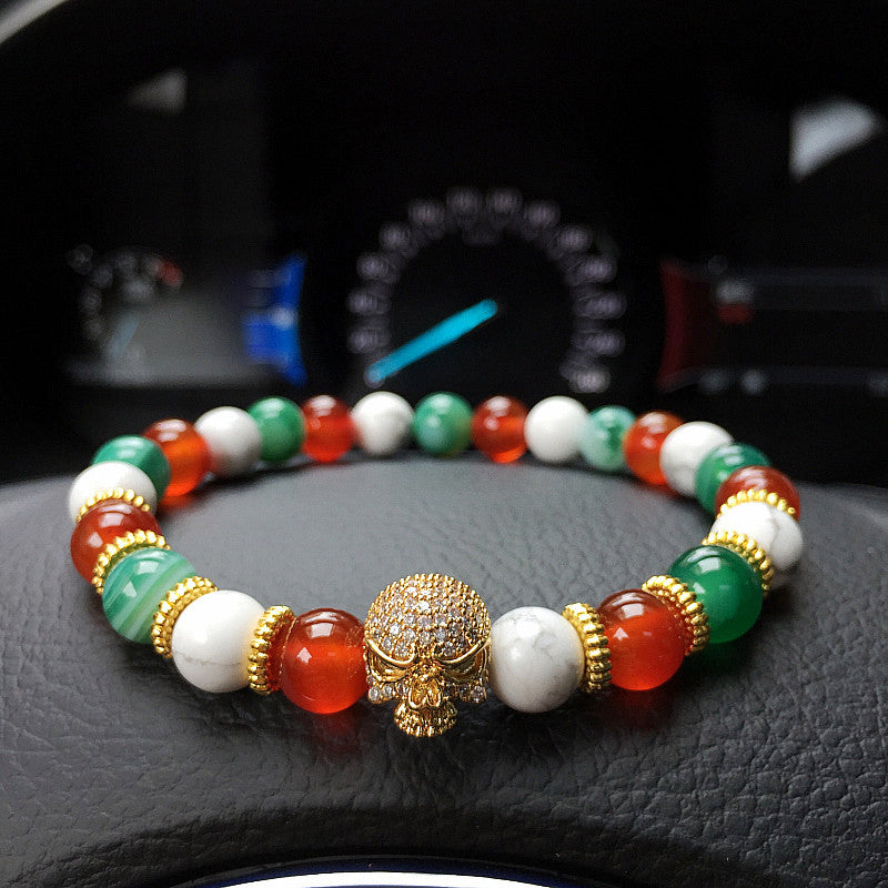 Gold Skull Red/White Turquoise Bracelet for Men - BraceletsDR