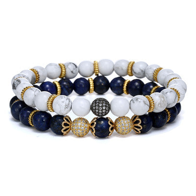 2 Piece Set Gold Beaded White Turquoise Bracelets for Men - BraceletsDR