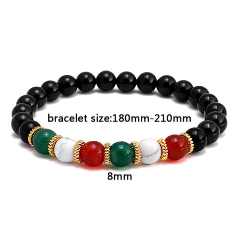 Red/White/Green Beaded Bracelet for Men